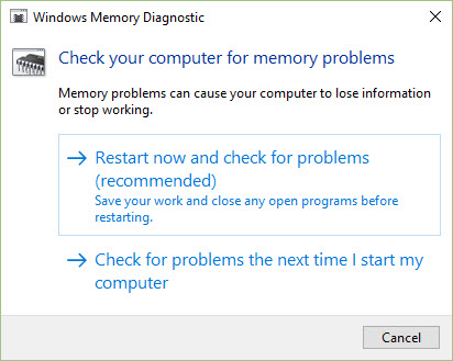 windows 10 memory diagnostic tool