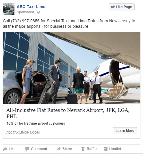 facebooks ads for a limo taxi company