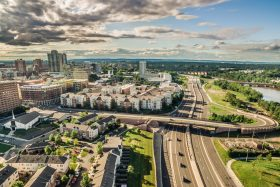 Drone view of New Brunswick, NJ