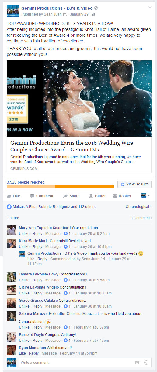 facebook ad with comments