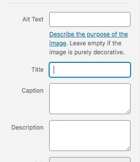 screenshot of alt image section of wordpress